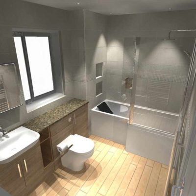 bathroom - large grey tiled walls - BASCS swindon