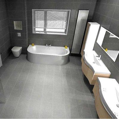bathroom - large grey tiled floor and walls - BASCS swindon