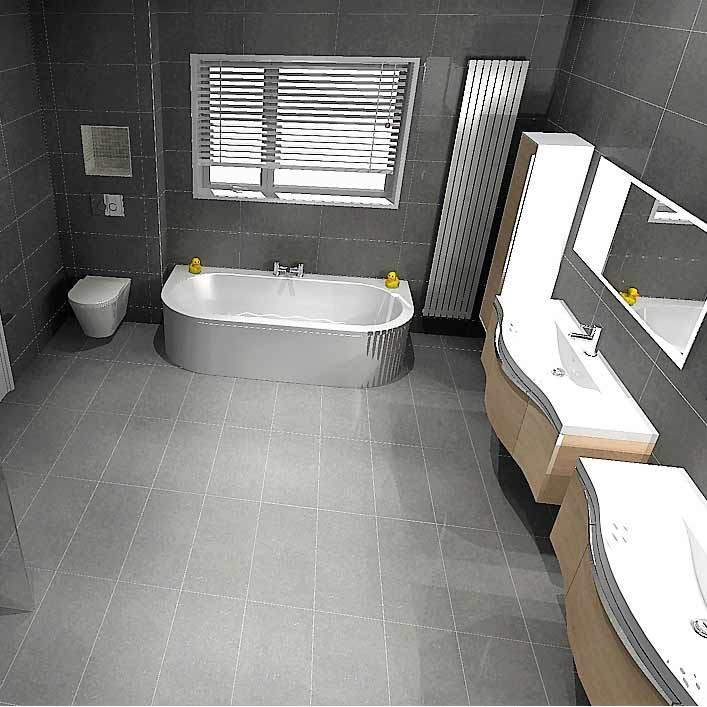 bathroom - large grey tiled floor and walls - BASCS swindon