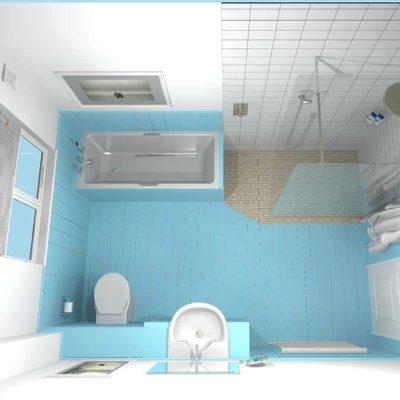 bathroom blue wooden wall and floor- BASCS swindon
