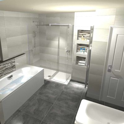 bathroom design - grey floor tiles and pale grey walls - BASCS swindon