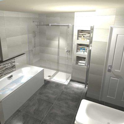 bathroom design - grey floor tiles and pale grey walls - BASCS swindon